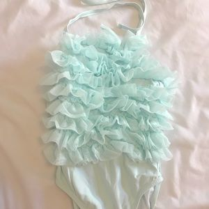 Jane and Jack aqua ruffle bathing suit